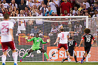 DC United goalkeeper Bill Hamid (28) makes a save. The New York Red Bulls defeated DC United 3-2 during a Major League Soccer (MLS) match at Red Bull Arena in Harrison, NJ, on June 24, 2012.