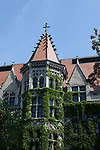 Gothic architecture, covered in ivy, University of Chicago campus, Chicago, Illinois, IL, USA