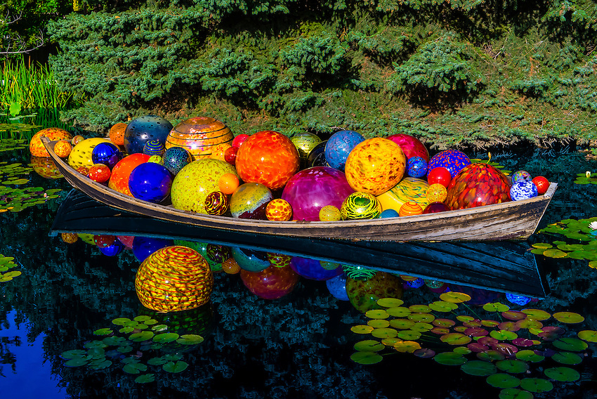 Float Boat Monet Pool Dale Chihuly Exhibition Blown Glass Denver Botanic Gardens Denver