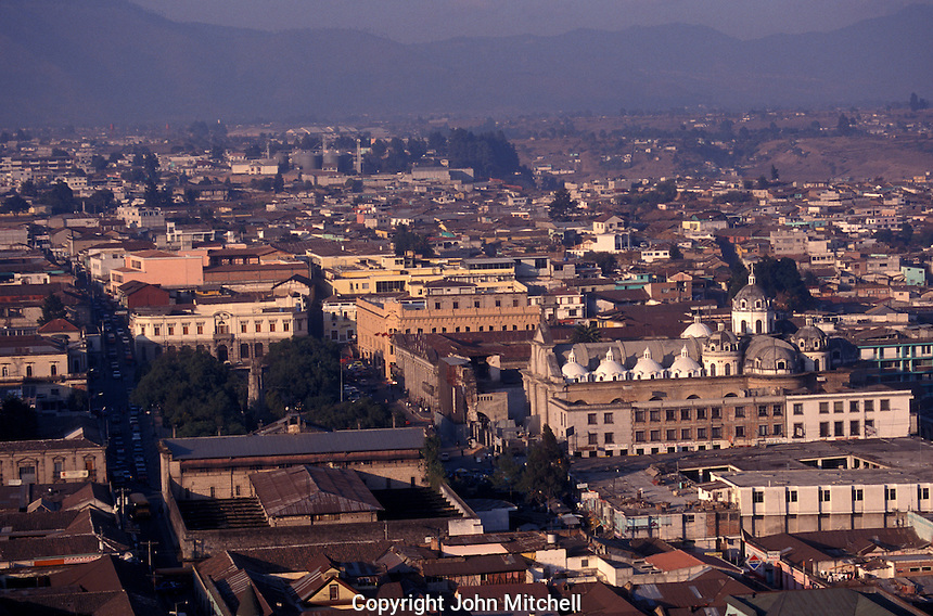 View from above of the city of Quetzaltenango, Guatemala