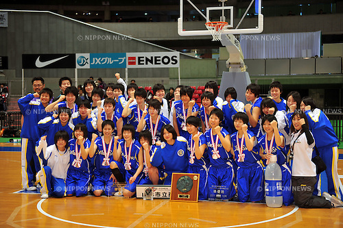 Yamagata Commercial Highschool Team Group,.DECEMBER 28, 2011 - Basketball : JX-ENEOS Winter Cup 2011 during the 42nd All Japan Highschool Basketball Championship match Women's final between (Sapporo Yamanote Highschool) 80-73 (Yamagata Commercial Highschool) at Tokyo Metropolitan Gymnasium, Tokyo, Japan. (Photo by Jun Tsukida/AFLO SPORT) [0003]
