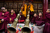 "Trumpeters at Hemis monastery herald the start of the Hemis festival at the Hemis Monastery (gompa) of the Drukpa Lineage, located in Hemis, 45 kms away from Leh in Ladakh. ..His Holiness the Twelfth Gyalwang Drukpa, the head of the Drukpa Lineage (proponents of the Mahayana Buddhist tradition) ended his ""Walking On The World's Rooftop"" Pad Yatra from Manali to Hemis Monestary in Ladakh."