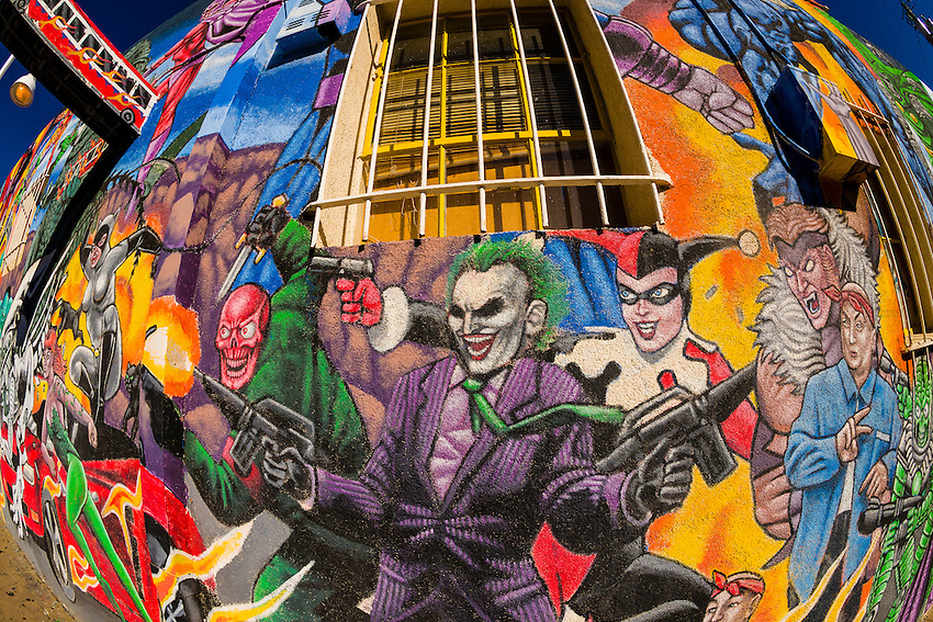 Mural of comic book super heroes on the side of masks y for Comic book mural
