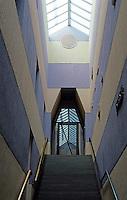 James Stirling & Michael Wilford Assoc.: Sackler Museum, Harvard University. Stairway.  Photo '88.