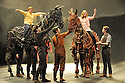 Author, Michel Morpurgo, presents the one millionth visitor to the show with a cup and rosette before attending the matineee performance of his West End hit, War Horse . The Reynolds family, from Sheffield (Mum, Adriece, Dad John, 12 year old daughter, Hebe and nine year old son, Leo) meet the horses, Michael Morpurgo and actor Jeremy Irvine, who plays the central character, Albert Narracott, who plays the boy. Picture credit should read: Jane Hobson/London News Pictures