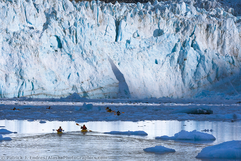 Kayakers in front of Barry Glacier, Prince William Sound, Alaska.