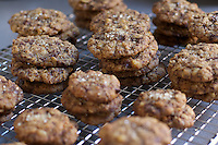 Stacks of Salted Chocolate Chip Cookies on Baker's Rack