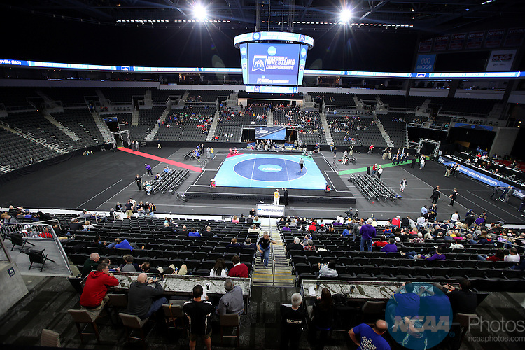 12 MARCH 2016: Fans fill into the seats at the 2016 NCAA Men's Division II Wrestling Championship held at the Denny Sanford Premier Center in Sioux Falls, S.D. Photo by Dave Eggen/NCAA Photos