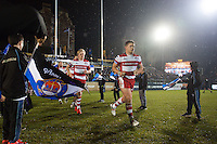 Darren Dawidiuk and the rest of the Gloucester Rugby team run out onto the field. Anglo-Welsh Cup match, between Bath Rugby and Gloucester Rugby on January 27, 2017 at the Recreation Ground in Bath, England. Photo by: Patrick Khachfe / Onside Images