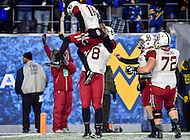 Morgantown, WV - NOV 19, 2016: Oklahoma Sooners wide receiver Dede Westbrook (11) celebrates with his lineman Oklahoma Sooners offensive tackle Orlando Brown (78) after he scores a first quarter touchdown  during game between West Virginia and Oklahoma at Mountaineer Field at Milan Puskar Stadium Morgantown, West Virginia. (Photo by Phil Peters/Media Images International)