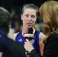 Detroit player Katie Smith (30) talks to a reporter after Game 2 of the WNBA Finals between the Detroit Shock and the San Antonio Silver Stars, Oct. 3, 2008, at the AT&T Center in San Antonio. Detroit won 69 - 61 to go up 2 - 0 in the best-of-five series. (Darren Abate/pressphotointl.com)