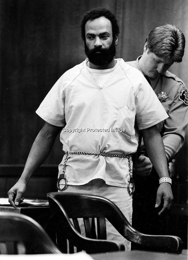 Black Panther leader Huey Newton in Alameda County Court in Oakland, Ca  facing murder charges. (photo 1989 by Ron Riesterer)