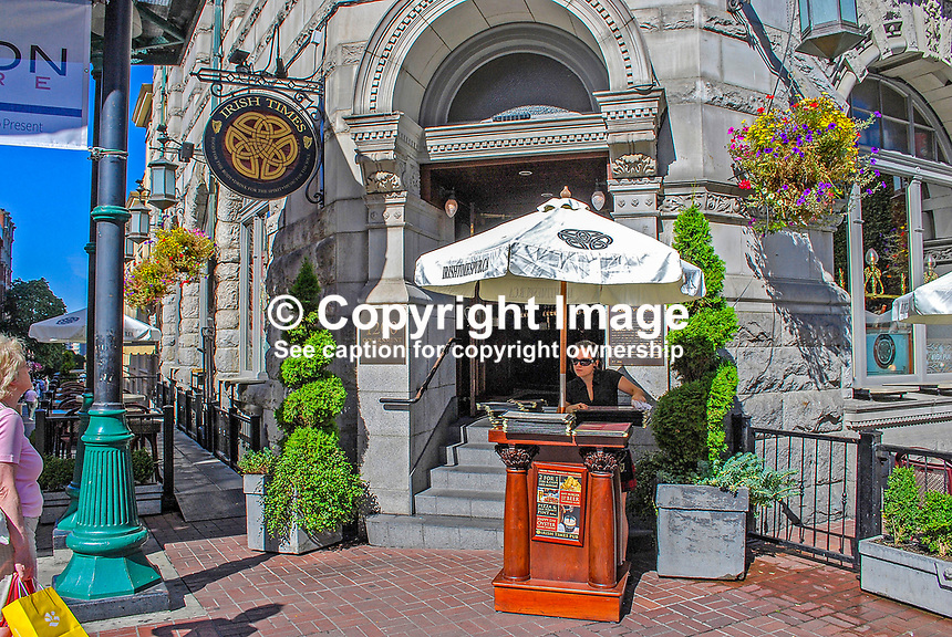 The imposing entrance to the Irish Times Pub, Victoria, British Columbia, Canada, downtown, 200809101248..Copyright Image from Victor Patterson, 54 Dorchester Park, Belfast, N Ireland, BT9 6RJ...Tel: +44 28 9066 1296.Mob: +44 7802 353836.Email: victorpatterson@mac.com..IMPORTANT: Go to www.victorpatterson.com and click on Terms & Conditions