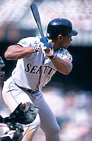 SAN FRANCISCO, CA - Rickey Henderson of the Seattle Mariners bats during a game against the San Francisco Giants at Pacific Bell Park in San Francisco, California on June 11, 2000. Photo by Brad Mangin