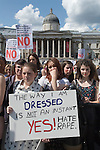 Slut Walk London UK . June 11 2011. Teen girls. Trafalgar Square National Gallery background