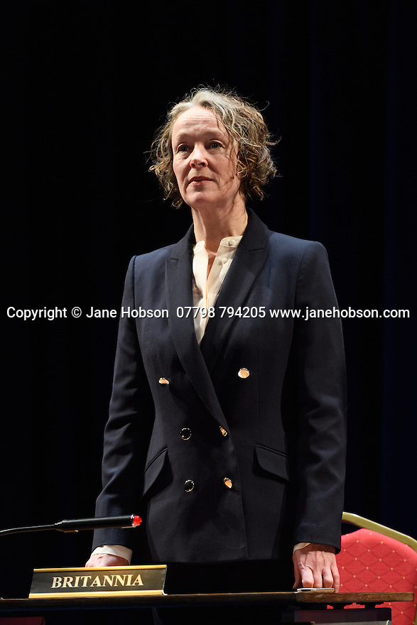 """The National Theatre presents """"My Country; a work in progress"""", in the words of people across the UK and Carol Ann Duffy, in the Dorfman. Rufus Norris directs. Design is by Katrina Lindsay, lighting design by Paul Knott. Picture shows: Penny Layden."""