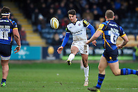 Adam Hastings of Bath Rugby puts boot to ball. Aviva Premiership match, between Worcester Warriors and Bath Rugby on February 13, 2016 at Sixways Stadium in Worcester, England. Photo by: Patrick Khachfe / Onside Images