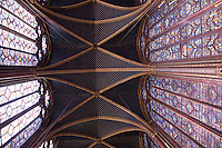 Stained Glass Window and Ceiling in the Upper Chapel in the Ste Chapelle; Paris; France; Europe