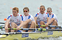 Brandenburg, GERMANY,  GBR BM4-, Bow, Daniel RITCHIE, Mohamad SBIHI, Camerob NICOL and William LAUGHTON, move away from the start at the 2008 FISA U23 World Rowing Championships, {idow], {date}, [Mandatory credit: Peter Spurrier Intersport Images]. Rowing Course: Brandenburg, Havel Rowing Course, Brandenburg, GERMANY