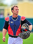 17 March 2009: Atlanta Braves' catcher David Ross, awaits the start of play prior to a Spring Training game against the New York Mets at Disney's Wide World of Sports in Orlando, Florida. The Braves defeated the Mets 5-1 in the Saint Patrick's Day Grapefruit League matchup. Mandatory Photo Credit: Ed Wolfstein Photo