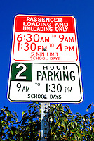 School Sign Restrictions, Loading, Unloading, limited parking