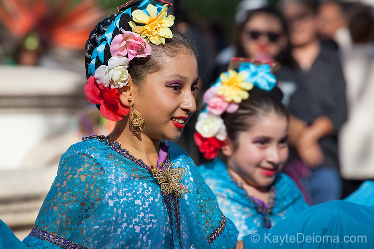 Mexican folklorico dancers at the Day of the Dead celebration at the Bowers Museum in Santa Ana, CA