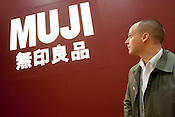 Journalist Michael Booth at the Muji flagship store in Yurakucho district of Tokyo, Japan. Tuesday 27th April 2010.