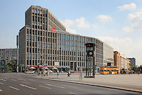 Corner of Potsdamer Platz with clock tower and Wurttemberg AG Insurance Company offices, Berlin, Germany. Picture by Manuel Cohen