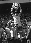 FOOTBALL - FRANK McLINTOCK (ARSENAL CAPTAIN) CHAIRED BY CHARLIE GEORGE & PAT RICE (RIGHT) AS ARSENAL COMPLETE LEAGUE & CUP DOUBLE. FA CUP FINAL, WEMBLEY 8/5/1971, ARSENAL 2 LIVERPOOL 1 (AET). CREDIT : COLORSPORT .