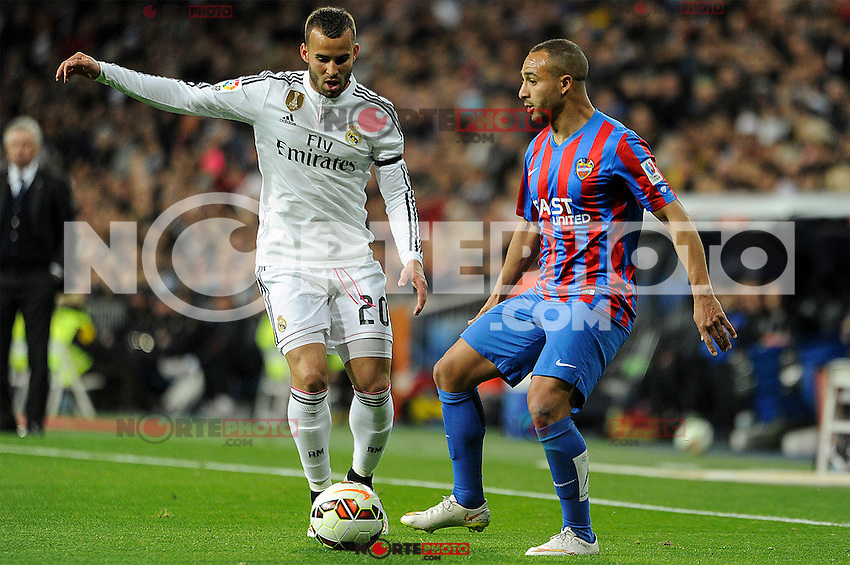 Real Madrid´s Jese Rodriguez and Levante UD´s Nabil El Zhar during 2014-15 La Liga match between Real Madrid and Levante UD at Santiago Bernabeu stadium in Madrid, Spain. March 15, 2015. (ALTERPHOTOS/Luis Fernandez) /NORTEphoto.com