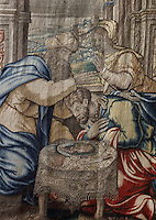 The Blessing of Jacob, from a tapestry of the Story of Jacob, from Brussels, late 16th - early 17th century, in Les Hospices de Beaune, or Hotel-Dieu de Beaune, a charitable almshouse and hospital for the poor, built 1443-57 by Flemish architect Jacques Wiscrer, and founded by Nicolas Rolin, chancellor of Burgundy, and his wife Guigone de Salins, in Beaune, Cote d'Or, Burgundy, France. The hospital was run by the nuns of the order of Les Soeurs Hospitalieres de Beaune, and remained a hospital until the 1970s. The building now houses the Musee de l'Histoire de la Medecine, or Museum of the History of Medicine, and is listed as a historic monument. Picture by Manuel Cohen