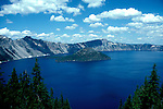 OR: Oregon; Crater Lake National Park, scenic view of Lake and Wizard Island         .Photo Copyright Lee Foster, lee@fostertravel.com, www.fostertravel.com, (510) 549-2202.Image orcrat216