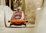 8 January 2016: Elfje Willemsen, piloting her 2-man bobsled for Belgium, enters the Chicane straightaway on her second run, ending the day with a combined 2-run time of 1:54.43 and earning a 4th place finish at the BMW IBSF World Cup Championships at the Olympic Sports Track in Lake Placid, New York, USA. Mandatory Credit: Ed Wolfstein Photo *** RAW (NEF) Image File Available ***