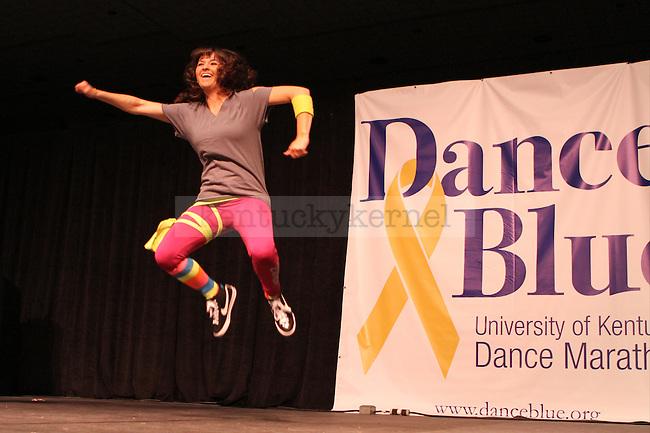 Kayla Talbott teaches Zumba during DanceBlue, the 24 hour dance marathon, at Memorial Coliseum Saturday February 23th, 2013. Photo by Kirsten Holliday   Staff