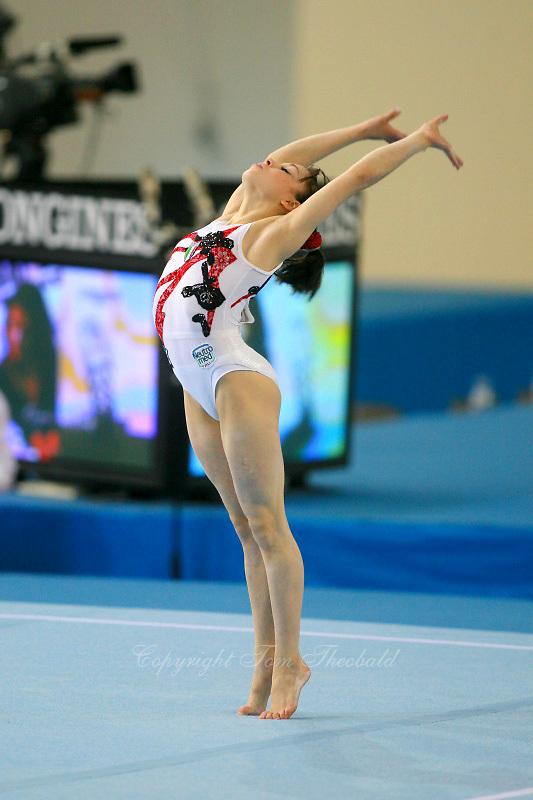 Vanessa Ferrari of Italy performs on floor exercise in senior women's event final competition at 2006 European Championships Artistic Gymnastics at Volos, Greece on April 30, 2006.  (Photo by Tom Theobald)<br />