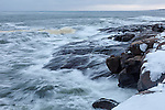 Storm surf on Cape Neddick in York, Maine, USA