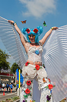 Woman, Butterfly, Scantily Clad, on Stilts,  LA Pride 2010 West Hollywood, CA Parade