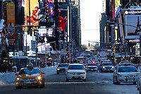 Cars drive down 7av in Times Square after the pass of the winter storm JONAS, in New York, 01/24/2016. Photo by VIEWpress