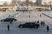 Washington, DC - January 20, 2009 -- United States President Barack Obama's limousine prepares to start the parade from the US Capitol after Obama was sworn in as the 44th US president in Washington, DC, on January 20, 2009. .Credit: Saul Loeb - Pool via CNP
