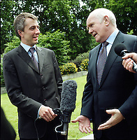 UK. London. From a story on Abingdon Street Gardens, a small patch of land, often referred to as College Green, that lies next to The Houses of Parliament in Westminster. It is a place where the media and the politicians come face to face. Interviews are held, photo shoots are set up and bewildered tourists stroll by..Photo shows Former Home Secretary John Reid MP on the day Gordon Brown took over as British Prime Minister..Photo©Steve Forrest/Workers Photos