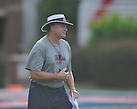 Ole Miss head coach Houston Nutt watches the action at Vaught-Hemingway Stadium in Oxford, Miss. on Saturday, August 13, 2011.