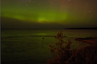 The Northern Lights visible over Lake Superior. AuTrain, MI.