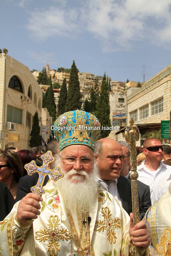 Israel, Kyriakos the Metropolitan of Nazareth leads the Greek Orthodox Annunciation Day procession
