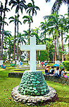 White cross honors Christopher Columbus and his landing on the coast of Limon in 1502.  This was his final voyage to the new world.