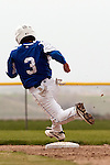 Nyssa's Rocky Garcia rounds second on his way home to score during the second game of a doubleheader between Vale and Nyssa on April 15, 2011 at Nyssa High School. Garcia scored Nyssa's only run on a RBI double by Zach Stratton as they fell to Vale 6 to 1.