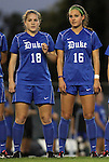 13 October 2011: Duke's Maddy Haller (18) and Laura Weinberg (16). The University of North Carolina Tar Heels defeated the Duke University Blue Devils 1-0 at Fetzer Field in Chapel Hill, North Carolina in an NCAA Division I Women's Soccer game.