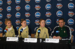 2 December 2006: Notre Dame head coach Randy Waldrum (r) with players (from left) Amanda Cinalli, Jen Buczkowski, and Brittany Bock. The University of Notre Dame Fighting Irish held a press conference at SAS Stadium in Cary, North Carolina one day before playing in the NCAA Division I Women's College Cup championship game.