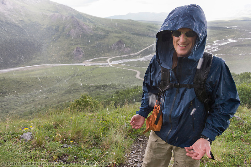Hiker in rain and hail storm, Denali National Park, interior, Alaska.