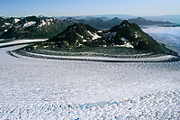 Nunatak Mountain and Columbia glacier, Chugach mountains Prince William Sound, Alaska.