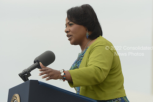 Bernice King, daughter of late Dr. Martin Luther King Jr.,  delivers remarks during the 'Let Freedom Ring' commemoration event, at the Lincoln Memorial in Washington DC, USA, 28 August 2013. The event was held to commemorate the 50th anniversary of the 28 August 1963 March on Washington led by the late Dr. Martin Luther King Jr., where he famously gave his 'I Have a Dream' speech.<br /> Credit: Michael Reynolds / Pool via CNP